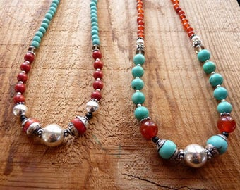 Coral/turquoise, carnelian/turquoise necklaces