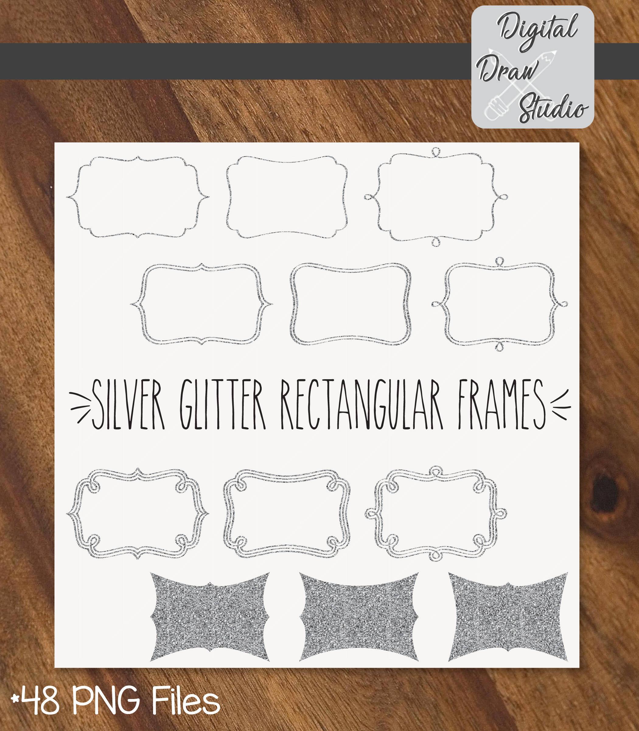48 Silver Glitter Rectangular Frames Clip Art Rectangular