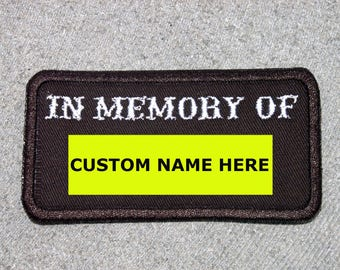 Customized IN MEMORY OF Patch, Biker Vest Motorcycle Patch, Memorial, New for jacket, hat, vest