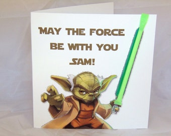 Personalised Handmade Childrens Star Wars Yoda Birthday Card-Sherbet Straw