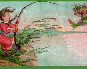 FANTASY Fishing, Girl catching fish, Vintage Trade Card, Instant DIGITAL Download