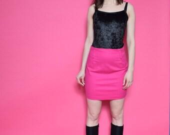 Vintage 90's Hopt Pink Mini Skirt / High Waisted Mini Skirt - Size Small