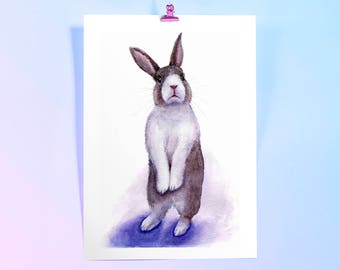 Watercolour Bunny Art Print. Rabbit Watercolour, Nursery print, Watercolor Painting of Bunny, Animals print.