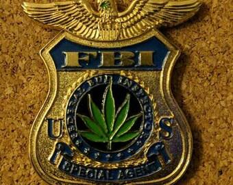 420 FBI badge hat pin
