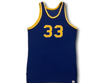Vintage 60's Powers Athletic Wear Blue & Gold #33 Basketball Jersey Tank Sz 42