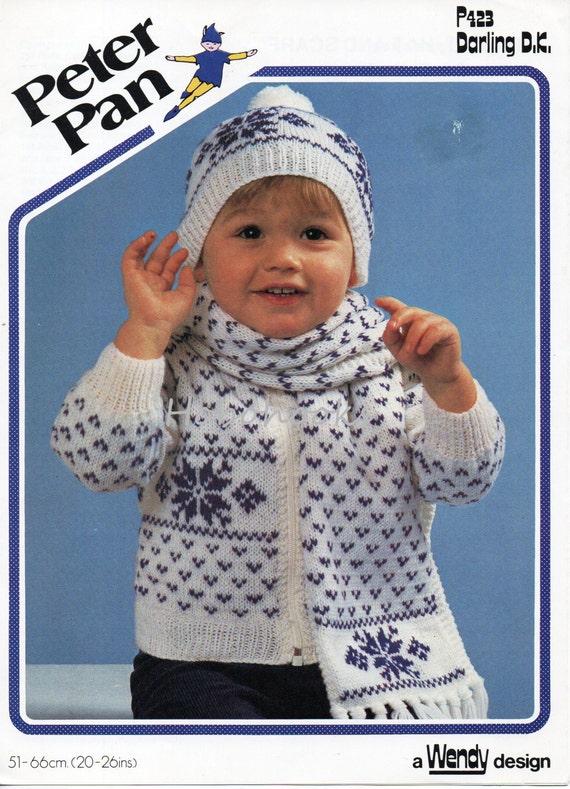 Baby Knitting Pattern Baby Toddler Childs Fairisle Cardigan Scarf