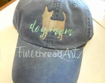 LADIES Dog Mom Baseball Cap Hat Leather strap 40 Breeds Labrador Dachshund Weimaraner Schnauzer Chihuahua ShihTzu Spaniel Poodle Yorkie
