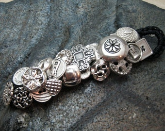 Silver Button Bracelet Hand Made to Order Crochet