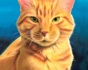 Orange Tabby Cat - Painting Print - Giclee