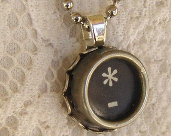 Vintage Typewriter Key Necklace, Asterisk