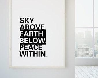 Boho Art, Meditation Print, Yoga Quote Print, Large Poster Art, Boho Decor