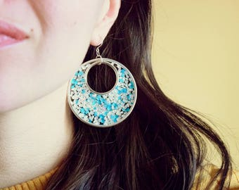 The Turquoise Statement - Flower Earrings - Nature Jewelry