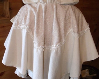 Victorian Shabby French Chic Bridal Wedding Hooded Capelet