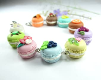 Fruit French Macaron Bracelet food jewelry , food bracelet, pastel jewelry, bracelet charm food gifts gift for women friends unique gifts