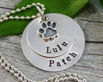 Mother Necklace For Pet Owner - Hand Stamped Jewelry - Personalized Jewelry - Pet Jewelry - Sterling Silver - Two Names - Paw Print Charm