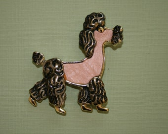 1950's Pink Leather Poodle Brooch