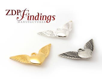 32x16mm Bold Heart Angel Wings Charm Pendant Necklace, Choose your Finish (BBD60V)