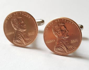 7th Anniversary Gift 2011 Penny Cufflinks Copper Anniversary Cuff Links
