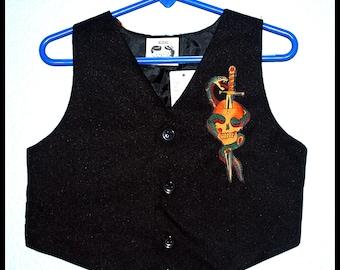 Boys Rockabilly Black Sailor Jerry Tattoo Vest....size 3