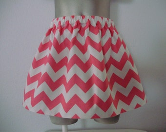 Pink and White Chevron Toddler Skirt, Toddler Chevron Twirly Skirt, Baby Pink Chevron Skirt, Fully Lined, Elastic Waistband,  Size 3T - 4T