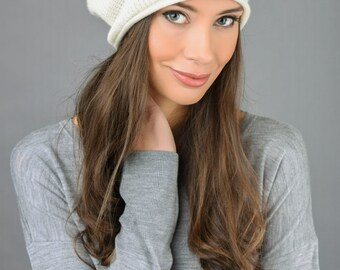 100% Pure Cashmere Slouchy Beanie Hat Ribbed Knitted Luxury Super Soft 8 colours - Made in Italy