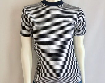 Vintage Women's 70's Striped Fitted T Shirt, Short Sleeve, Top by Campus (XS/S)