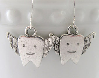 Tooth Fairy Tooth with Wings Earrings Gift for Dentist Orthodontist Hygienist Healthcare Smile Teeth