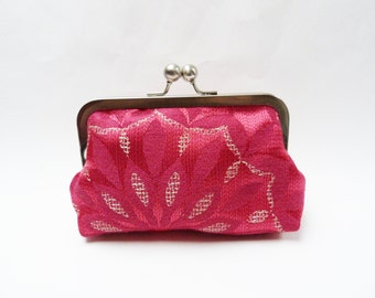 Clutch bag, magenta pink and silver decorative evening bag