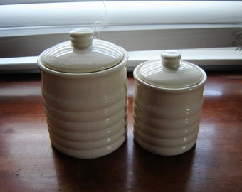 Vintage ceramic canisters storage jars with lids kitchen storage 2 pc set ivory self seal lids retro chic decor kitchen decor