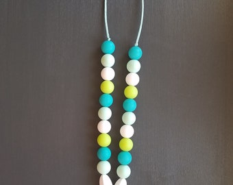 Teething Jewelry Necklace - Mint, White, Teal, Green- Feather