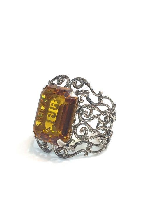 Danecraft Sterling Silver Topaz Cuff Bracelet, Open Work Foliate Scrolls, Huge  Rectangular Glass Topaz, 1950s Vintage Statement Jewelry