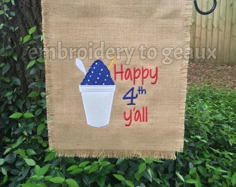 Happy 4th Y'all July 4th Red, White and Blue Snoball Burlap Garden Flag, Burlap Garden Flag, 4th of July ,4th of July Garden Flag