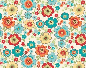 Teal and Orange Floral Fabric - Riley Blake Road Trip Fabric - Retro Teal and Orange Floral Quilting Fabric By The 1/2 Yard or Fat Quarter