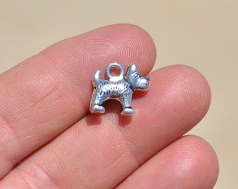 BULK 20  Silver Little Dog Charms SC2843