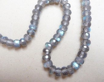 "6mm Labradorite faceted rondelles 2"" strand, top quality labradorite with beautiful flash"