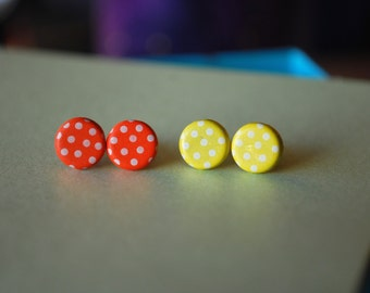 Polkadot studs -- Polkadot earrings, Polka dot earrings
