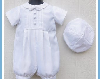 Baptism Outfit for Boys, Baptism Romper, Boys Christening Romper, Boys Baptism Outfit