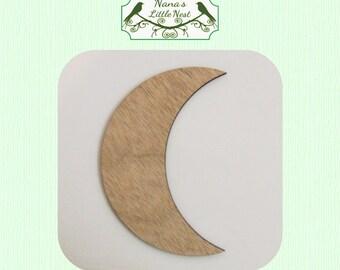 Crescent Moon ( Medium) Wood Cut Out - Laser Cut