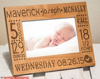 Personalized Baby Picture Frame- Birth Announcement-baby gift- w/ stats-Baby Stat-Baby Name-New Baby-Wood Engraved-Color Choice