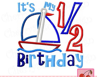 Sailboat Half Birthday!!  Embroidered Shirt, Bodysuit, Burp Cloth, Dish Towel and more!