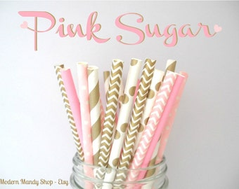 Mixed Paper Straws in Pink and Gold (Pink Sugar - Pack of 25 or 50 Straws) **Weddings, Parties, Showers, Gifts** Pink and Gold Parties