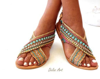 "Greek Leather Sandals ""Sofia"" ,  Handmade sandals , Boho sandals, Women's Shoes,  Leather sandals,  oriental sandals"