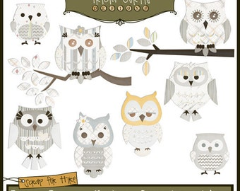 Hoot Owls - Beep Beep: Under Construction Paper Piecing Clipart Elements for Invitations, Card Design and Scrapbooking - Instant Download