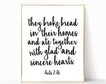 they broke bread in their homes and ate together printable, acts 2:46 print, acts print, fixer upper style, fixer upper decor, poster