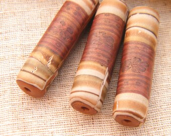 ONLY SET Rusty Brown - Striped Wildflower Tube Beads - handpainted polymer clay striped rustic chunky boho chic - set of 3 (ready to ship)