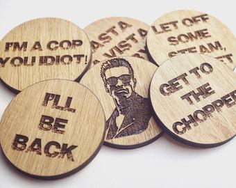 Arnold Schwarzenegger Inspired Wooden Coasters