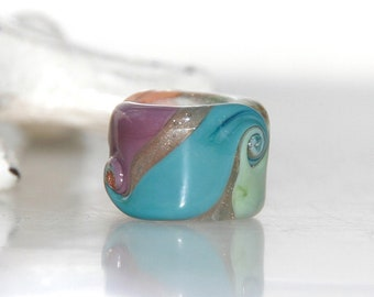 Cottage Goldstone Swirly Glass Dread Bead with 8.5mm hole