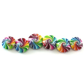 Swirl lentil beads with silver, Polymer clay beads in rainbow colors, combination of 3 pairs of beads, colorful focal beads, craft supplies
