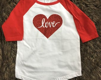 Red Love Raglan