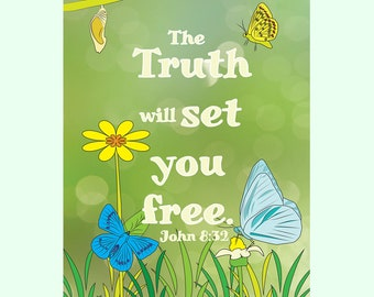 John 8:32 Coloring Page in 8.5 x 11 size